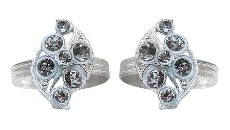 Pair of White Stone Studded Adjustable Metal Toe Ring