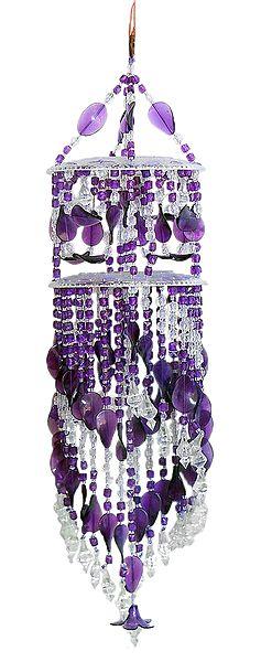 Purple and White Beaded Chandeliar Door Hanging - (Decorative Door Hanging)