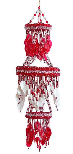 Red and White Beaded Chandelier Decorative Door Hanging