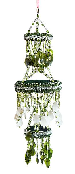 Green and White Beaded Chandelier Decorative Door Hanging