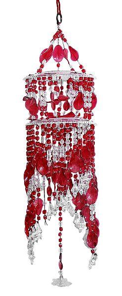 Red and White Beaded Chandelier Decorative Door Hanging