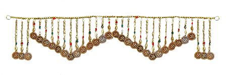 Bead Door Toran with Om - (Decorative Door Hanging)
