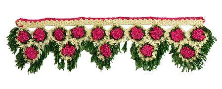Pink, Green and Off-white Crocheted Woolen Door Toran - (Decorative Door Hanging)