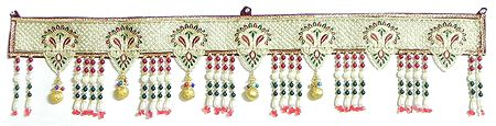 Embroidered Cloth Door Toran with Beads - (Decorative Door Hanging)
