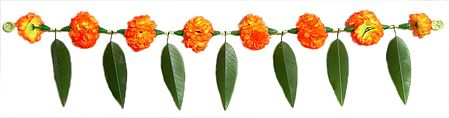 Synthetic Leaves with Saffron Cloth Flower Toran - Decorative Door Hanging