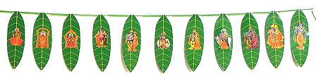 Hindu Deities Print on Paper Leaves Door Toran - (Decorative Door Hanging)