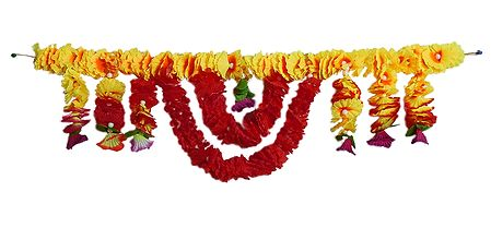 Yellow and Red Flower Door Toran - Decorative Door Hanging