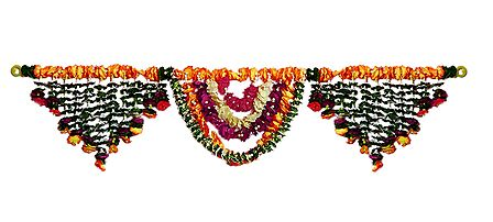 Cloth and Synthetic Flower Door Toran - (Decorative Door Hanging)
