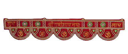 Embroidered Hindu Symbols on Cloth Door Toran - Decorative Door Hanging
