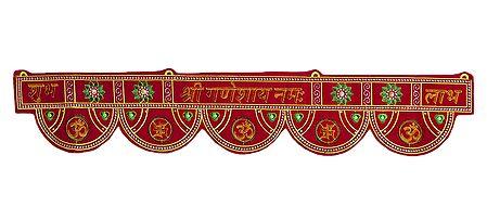 Embroidered Hindu Symbols on Cloth Door Toran - Decorative Door Hanging