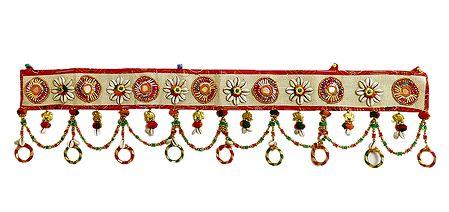 Cloth Door Toran with Cowrie and Beads - Decorative Door Hanging
