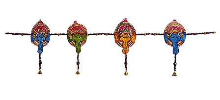 Hand Painted Hanging Ganesha with Beads - Perforated Leather Toran