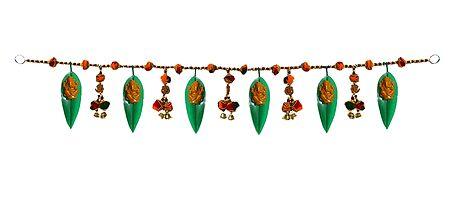 Synthetic Mango Leaves Door Toran with Ganesh Statue - Decorative Door Hanging