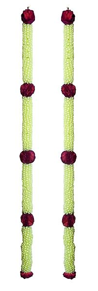 Set of 2 Light Yellow with Red Synthetic Flower Door Hanging