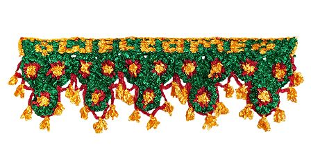 Green, Yellow and Red Silk Thread Door Toran - (Decorative Door Hanging)