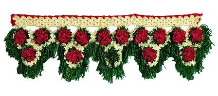 Red, Green and Off-white Crocheted Woolen Door Toran - (Decorative Door Hanging)
