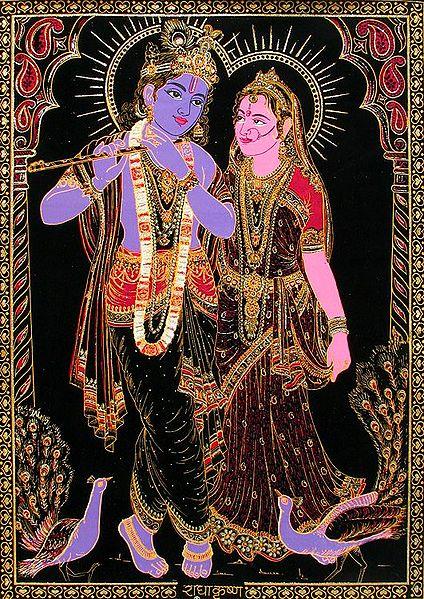 Radha Krishna - (Golden Glitter Painting)