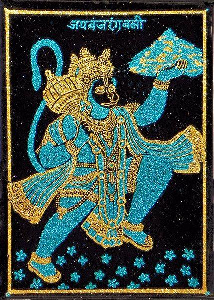 Hanuman Carrying Gandhamadan Parvat- (Cyan and Golden Glitter Painting)