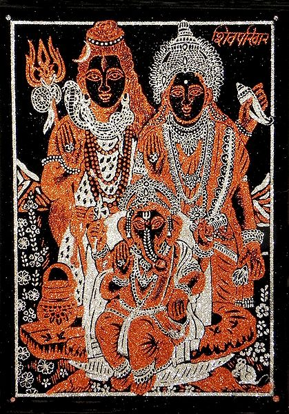 Shiva, Parvati and Ganesha - (Rust and Silver Glitter Painting)