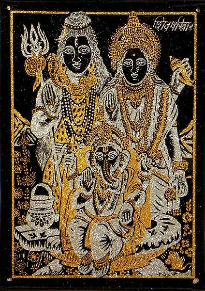 Shiva, Parvati and Ganesha - (Golden and Silver Glitter Painting)