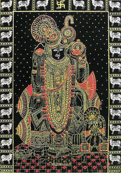 Krishna as Dwarkanathji - (Golden Glitter Painting)