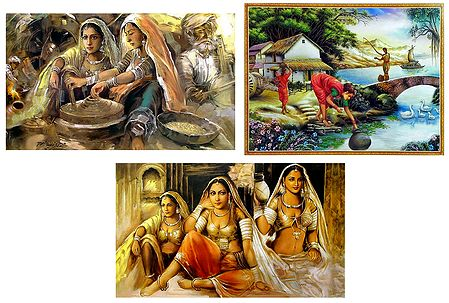 Daily Chores of Village People and Rajasthani Women - Set of 3 Posters