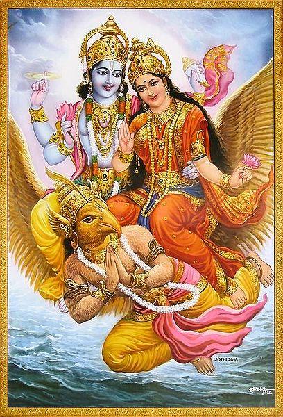 Lord Vishnu and Lakshmi Riding on Divine Vehicle Garuda