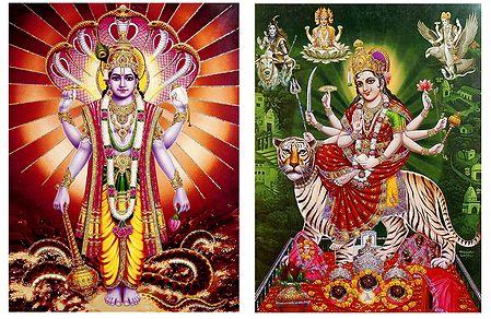 Vishnu and Vaishno Devi - Set of 2 Glitter Posters