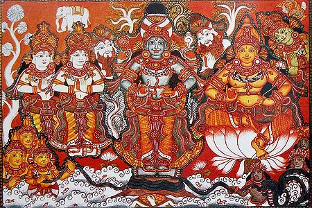 Vishnu and Lakshmi During Samudra Manthan with Devas and Asuras