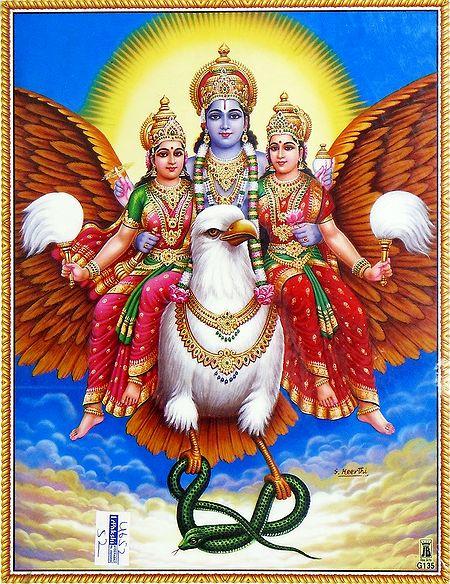 Vishnu with His Two Consorts Riding on Gadura