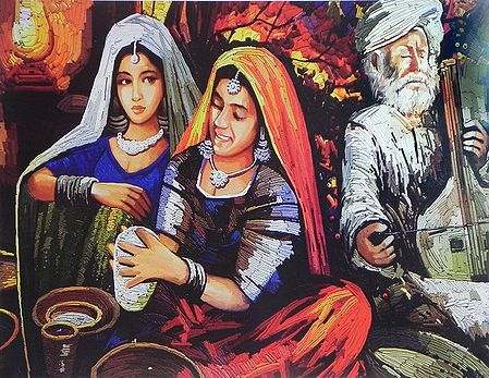 Rajasthani Women with Musician
