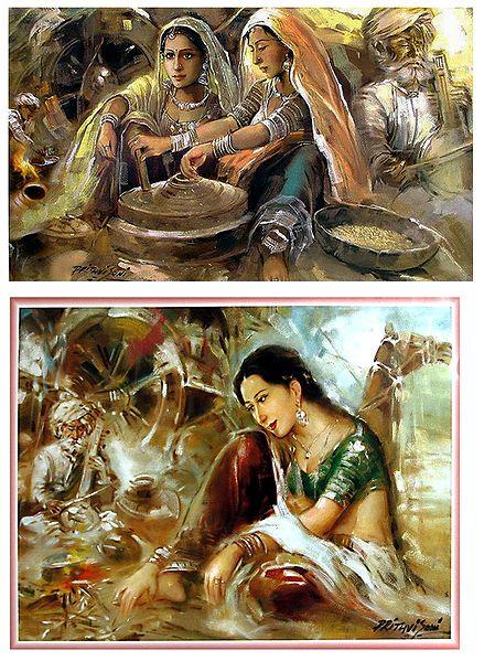 Rajasthani Beauties - Set of 2 Posters