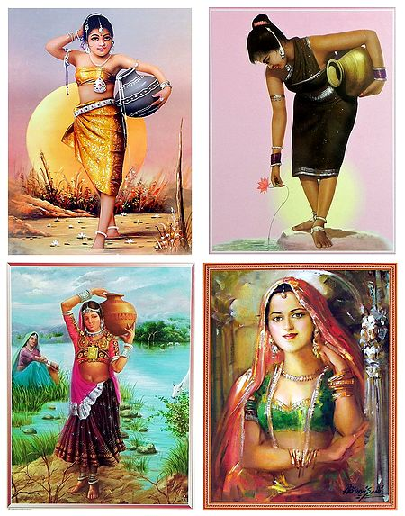 Tribal Girls Carrying Water and Princess - Set of 4 Posters