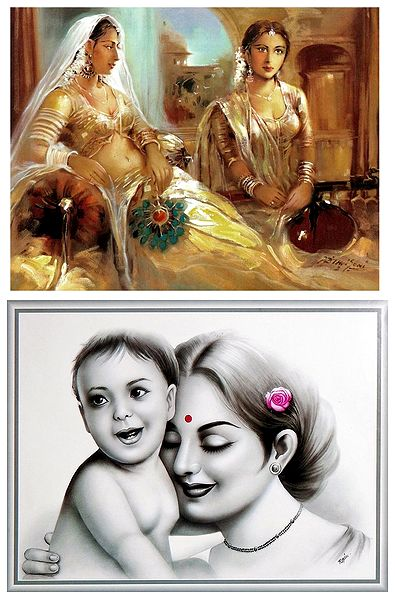 Princess and Mother and Child - Set of 2 Posters