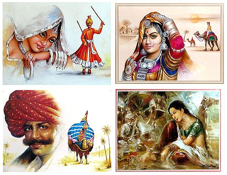 Rajasthani People - Set of 4 Posters