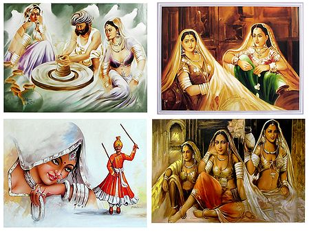 Rajasthani Women and Potter - Set of 4 Posters