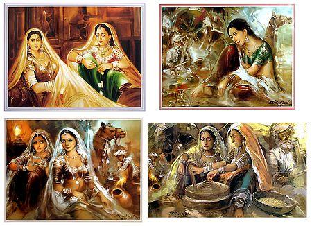 Rajasthani Women - Set of 4 Posters