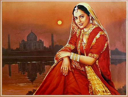 Indian Bride in Front of Taj Mahal