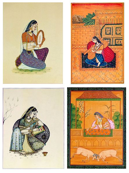 Ragini and Rajput Woman - Set of 4 Posters