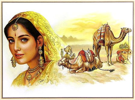 Rajasthani Beauty and Camel Riders