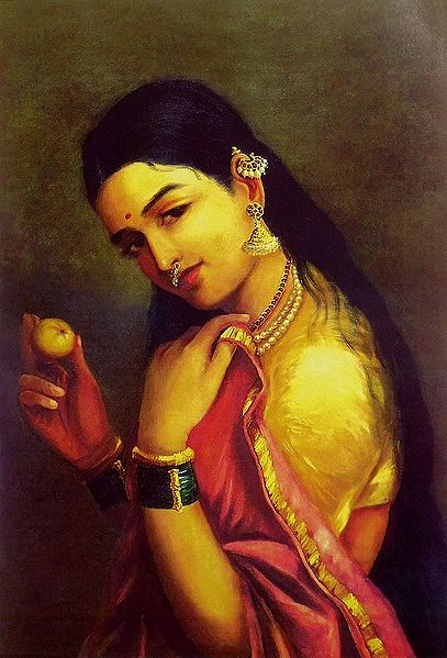 Lady with an Apple - Ravi Varma Reprint on Paper