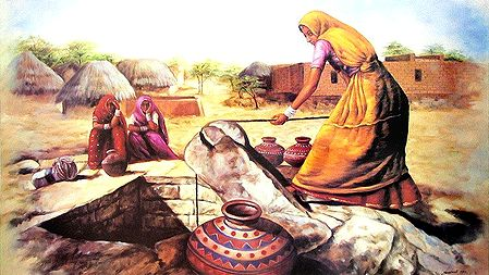 Village Woman Fetching Water from the Well