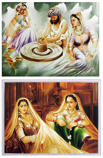 Rajasthani Women and Potter - Set of 2 Posters