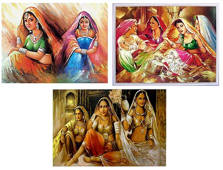 Rajasthani Beauties - Set of 3 Posters
