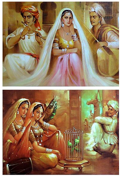 Rajasthani Beauties - Set of 2 Unframed Posters