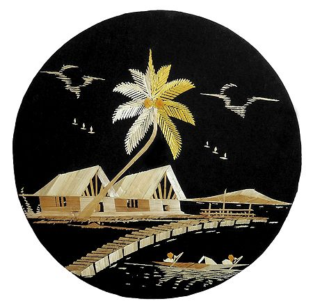 Village Scene - Bamboo Strands Picture on Cardboard