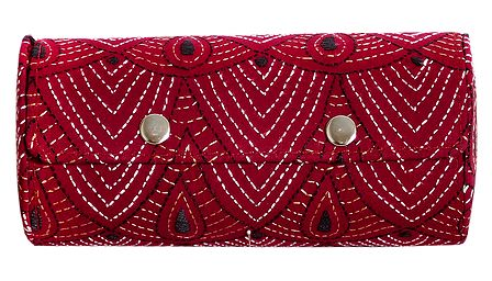 Embroidered Red Cloth with Cardboard Bangle Box