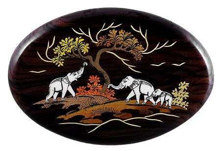 Elephant Family - Inlaid Wood Wall Hanging