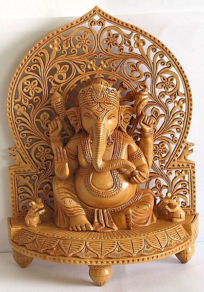 Ganesha Sitting on Throne with Two Mice