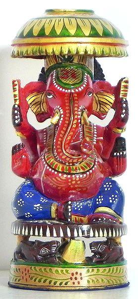 Decorated Red Ganesha Sitting Under Umbrella